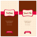 Beautiful retro love greeting cards. Nice greeting cards with stripes and dots background for wedding invitation, birthday or other holiday. Simple template with Stock Images
