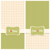 Beautiful retro love greeting cards. Nice greeting cards with stripes and dots background for wedding invitation, birthday or other holiday. Simple template with Royalty Free Stock Images