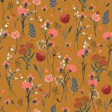 Beautiful retro meadow flowers full of blooming in many kind o vector illustration
