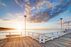 Beautiful Retro Pier At Sunset. Gdansk Brzezno, Poland Royalty Free Stock Images