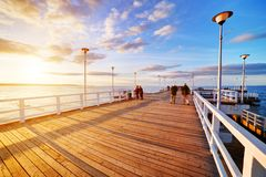 Beautiful retro pier at sunset. Gdansk Brzezno, Poland Royalty Free Stock Photography