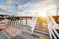 Beautiful retro pier at sunset. Gdansk Brzezno, Poland. Beautiful retro pier at sunset over Baltic sea. Gdansk Brzezno, Poland Royalty Free Stock Photography