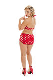 Beautiful Retro Pinup Girl in Bathing Suit Portrait Royalty Free Stock Image