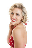 Beautiful Retro Pinup Girl in Bathing Suit Portrait Stock Images