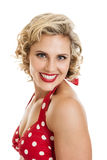 Beautiful Retro Pinup Girl in Bathing Suit Portrait Stock Photo