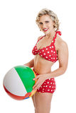 Beautiful Retro Pinup Girl with Beach Ball Stock Images