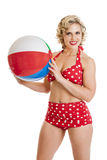Beautiful Retro Pinup Girl with Beach Ball Stock Image