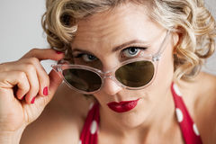 Beautiful Retro Pinup Girl Wearing Sunglasses Portrait Stock Photos