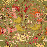 Beautiful retro seamless pattern with mermaid Stock Photography