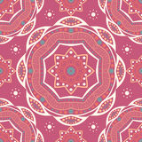 Beautiful retro seamless pattern tile, vintage texture. Ethnic ornaments. Flower circular background. Royalty Free Stock Photo