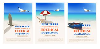 Beautiful retro set. Vintage seaside view minimalistic advertising poster. Vector background royalty free illustration