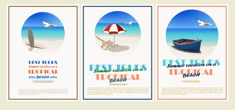 Beautiful retro set. Vintage seaside view minimalistic advertising poster. Vector background. vector illustration