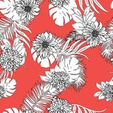 Retro hand drawn hawaiian tropical leaves and flowers texture design seamless pattern vector royalty free stock photography