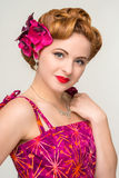 Beautiful retro style woman in vintage dress Royalty Free Stock Photos