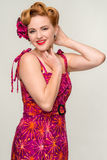Beautiful retro style woman in vintage dress Stock Photography