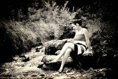 Beautiful retro woman. A beautiful retro photo of an expressive woman in the nature Stock Photography
