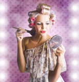 Beautiful Retro Woman Applying Makeup Cosmetics Royalty Free Stock Photography