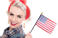 Free Beautiful Retro Woman Celebrates 4th July, Isolated On White Royalty Free Stock Photography - 71082517