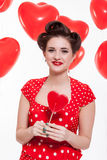 Beautiful retro woman celebrating Valentines Stock Photography