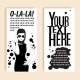 Beautiful retro woman. Copy space. In little black dress. Royalty Free Stock Photography