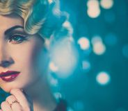 Beautiful retro woman Royalty Free Stock Photography