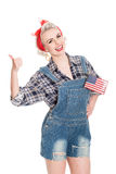 Beautiful retro woman gives thumbs up gesture celebrating 4th Ju Stock Photography