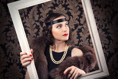 Beautiful retro woman Royalty Free Stock Images