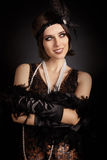 Beautiful retro woman from the roaring 20s ready to party Royalty Free Stock Photo