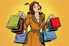 Beautiful retro woman on sale. Pop art retro vector illustration. Seasonal and holiday shopping Stock Image