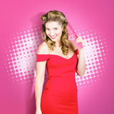 Beautiful retro woman. Salon hairstyle pin-ups Royalty Free Stock Photo