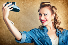 Beautiful Retro Woman Taking Selfie With Camera Stock Images