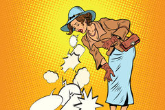 Beautiful retro woman vomiting review comic bubble Stock Images