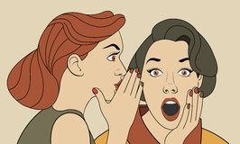 Beautiful retro woman whispering a gossip to her surprised friend. Vintage art royalty free illustration