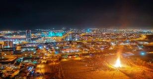 Beautiful Iceland. Reykjavik. Happy new year 2019. Night. Ritual bonfire. stock photography