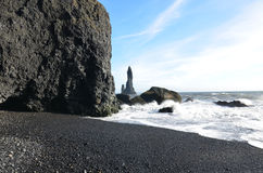 Beautiful Reynisfjara Beach and Sea Stacks off Vik Iceland Stock Photography