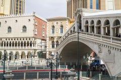 Beautiful Rialto Bridge at Venetian Hotel Las Vegas - LAS VEGAS - NEVADA - APRIL 22, 2017 Stock Photography