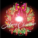 Beautiful ribbon with Christmas background and greeting card vector Royalty Free Stock Images