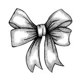 Beautiful ribbon tied in bow. Freehand drawing in. Beautiful ribbon tied in a bow. Freehand drawing in graphic style pen and ink stock illustration