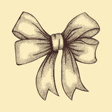 Beautiful ribbon tied in  bow. Freehand drawing in graphic style pen and ink Royalty Free Stock Photography