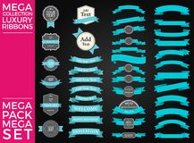 Beautiful Ribbons, Tags and Bows Collection Set Vector Design. Eps 10 Royalty Free Stock Photo
