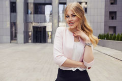Beautiful rich casual blonde stylish fashion business woman with Stock Images