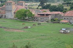 Beautiful Riding School Full Of Horses In The Medieval Village In Santillana Del Mar. August 26, 2013. Santillana Del Mar,. Cantabria. Vacation Nature Street royalty free stock images