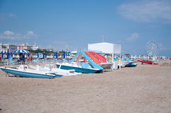 The beautiful Rimini beach view on a sunny day with the backgro Royalty Free Stock Images