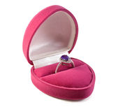 Beautiful ring in box Stock Images