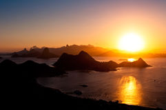 Beautiful Rio de Janeiro Sunset with Mountains Stock Images