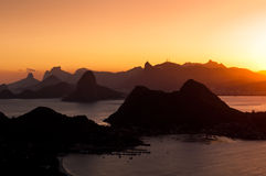 Beautiful Rio de Janeiro Sunset with Mountains Stock Photo