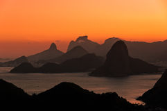Beautiful Rio de Janeiro Sunset with Mountains Royalty Free Stock Image