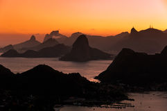 Beautiful Rio de Janeiro Sunset with Mountains Royalty Free Stock Images