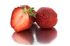 Beautiful, ripe, large bright strawberry on the isolated background. Isolate Strawberry. Royalty Free Stock Image