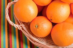 Beautiful ripe oranges on the table and a yellow orange backgrou. N Stock Image